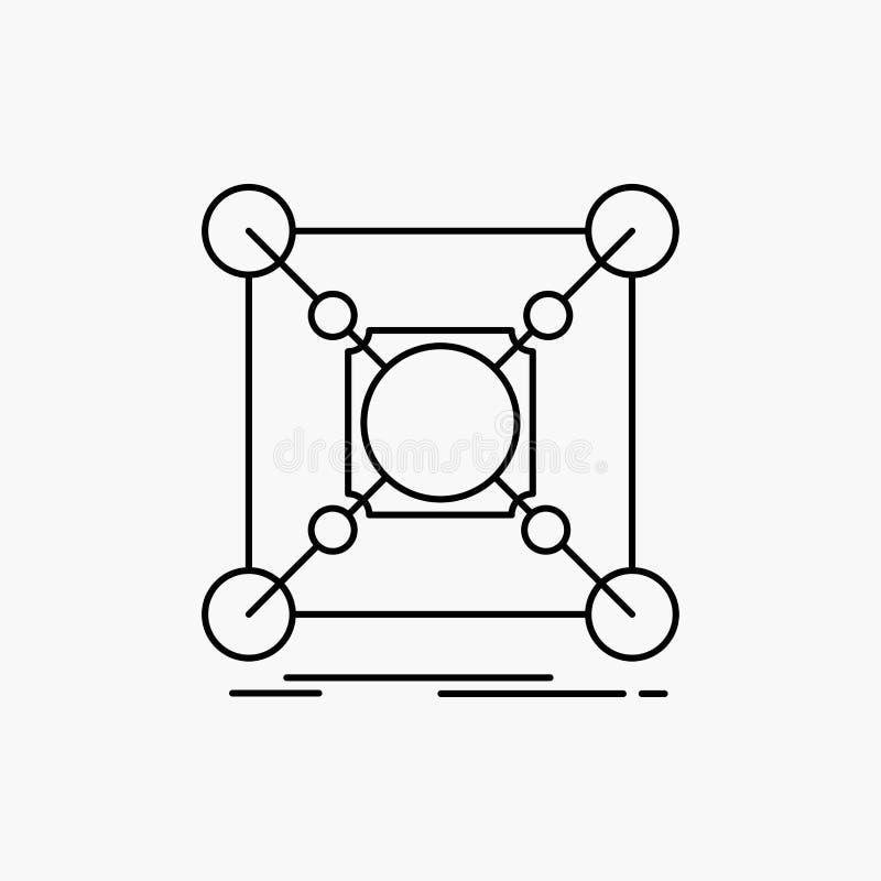 Baza, centrum, związek, dane, centrum Kreskowa ikona Wektor odosobniona ilustracja ilustracji