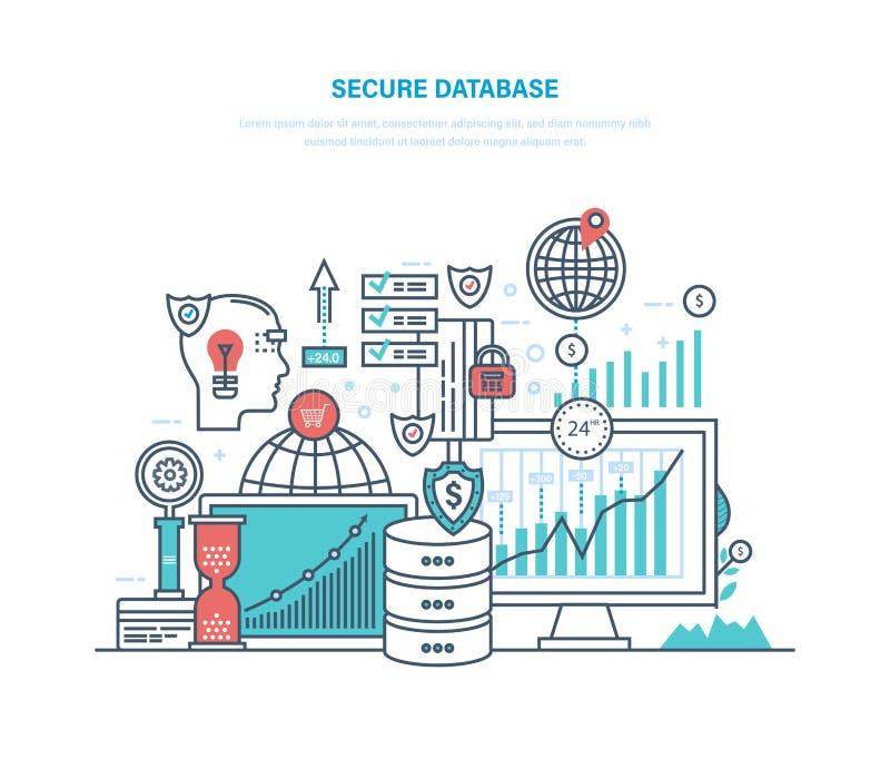 baza danych bezpiecznie Dane ochrona, pomocnicze kartoteki, ewidencyjni archiwa, medialny serwer ilustracja wektor
