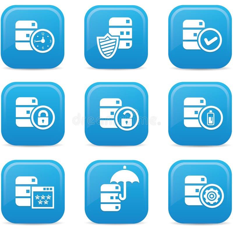 Baza danych, dane centrum i przechowywanie danych ikony, błękitna wersja ilustracja wektor