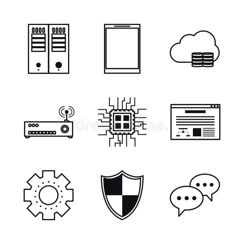 Baza danych i gościć ikony ilustracja wektor