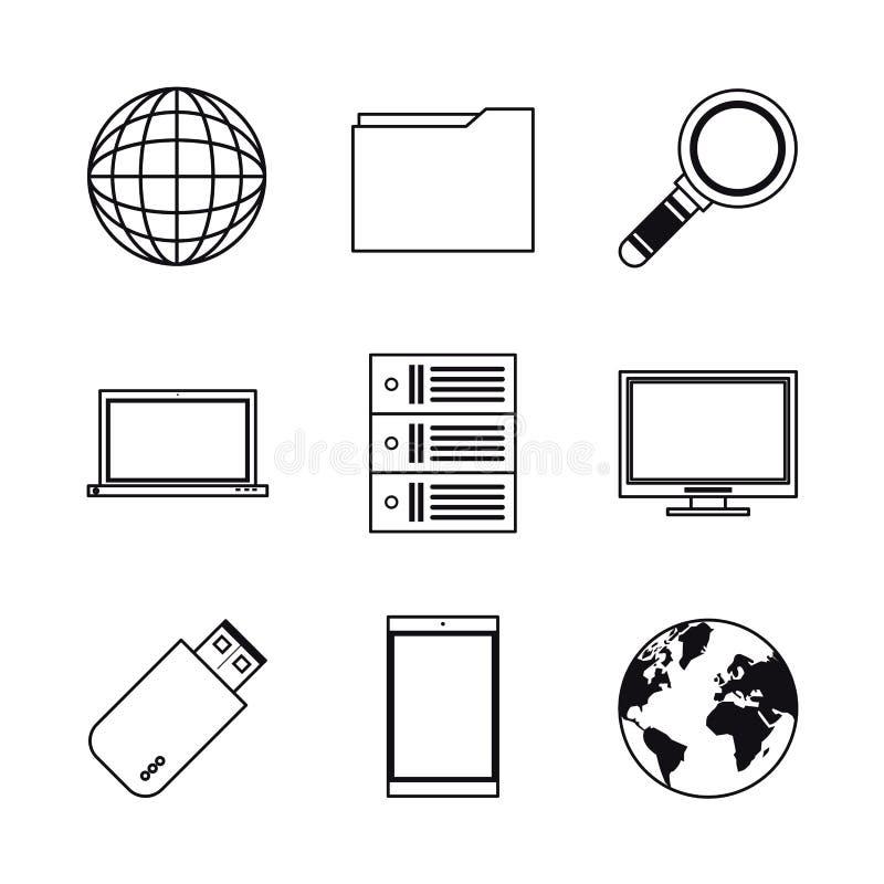 Baza danych i gościć ikony ilustracji