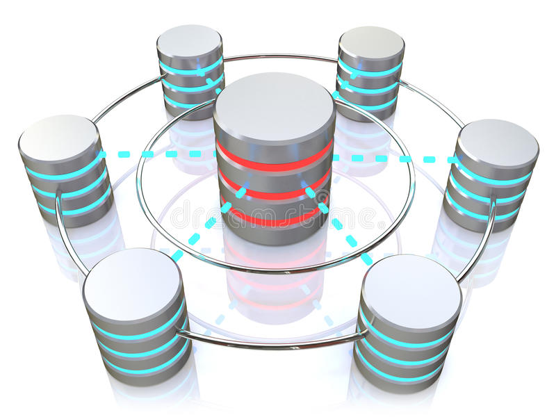 Baza danych i networking pojęcie: związane metalu dyska twardego ikony ilustracji