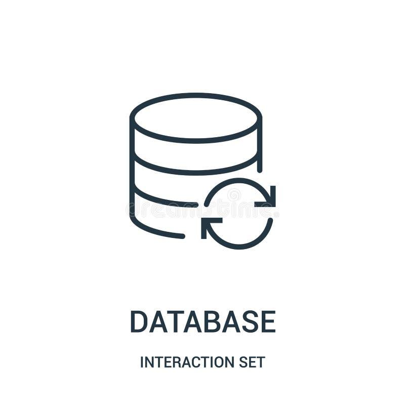 baza danych ikony wektor od interakcji ustalonej kolekcji Cienka kreskowa baza danych konturu ikony wektoru ilustracja ilustracja wektor