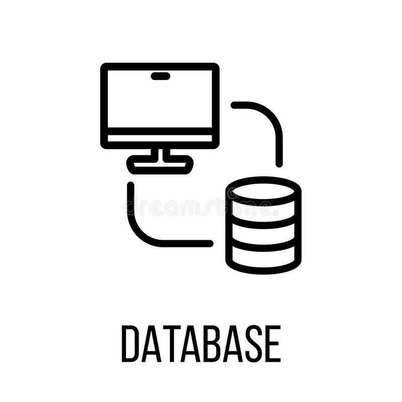 Baza danych logo w nowożytnym kreskowym stylu lub ikona ilustracja wektor