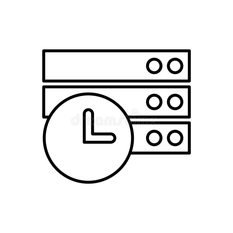 Baza danych, serwer, godziny ikona - wektor Baza danych wektoru ikona royalty ilustracja