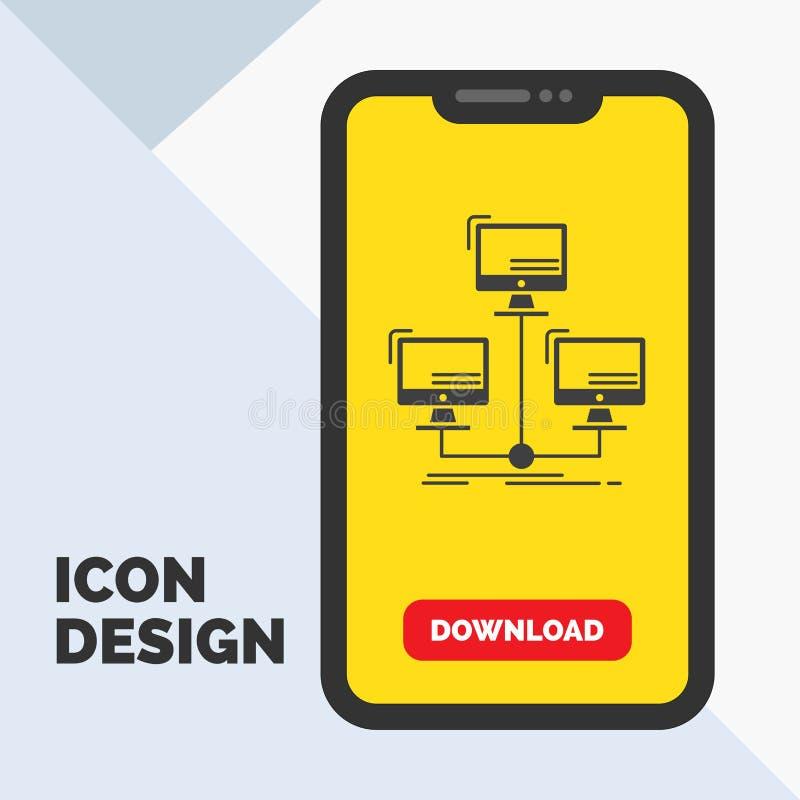 baza danych, zakłócający, związek, sieć, komputerowa glif ikona w wiszącej ozdobie dla ściąganie strony ? ilustracji