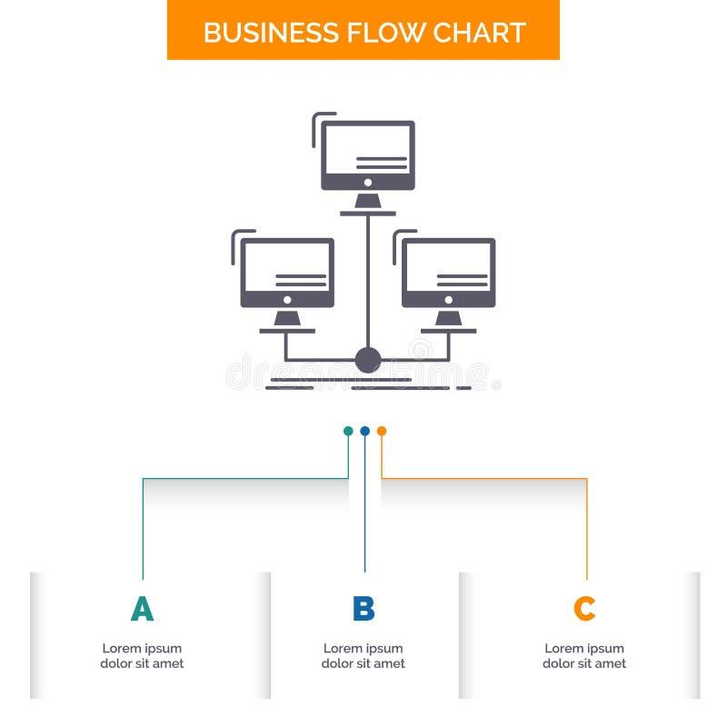 baza danych, zakłócający, związek, sieć, komputerowego biznesu Spływowej mapy projekt z 3 krokami Glif ikona Dla prezentacji ilustracja wektor