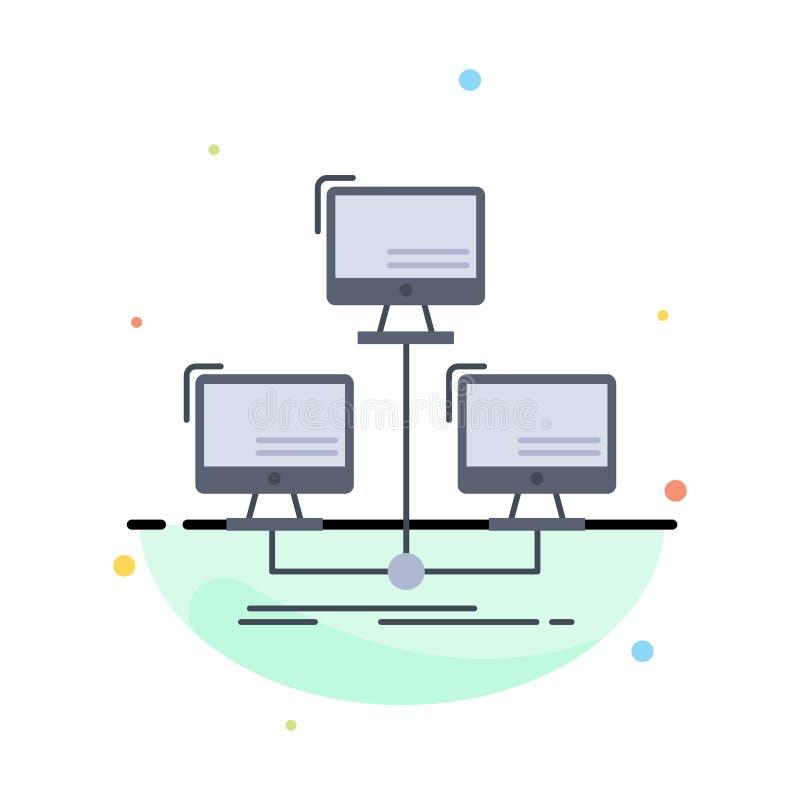 baza danych, zakłócający, związek, sieć, komputerowy Płaski kolor ikony wektor royalty ilustracja