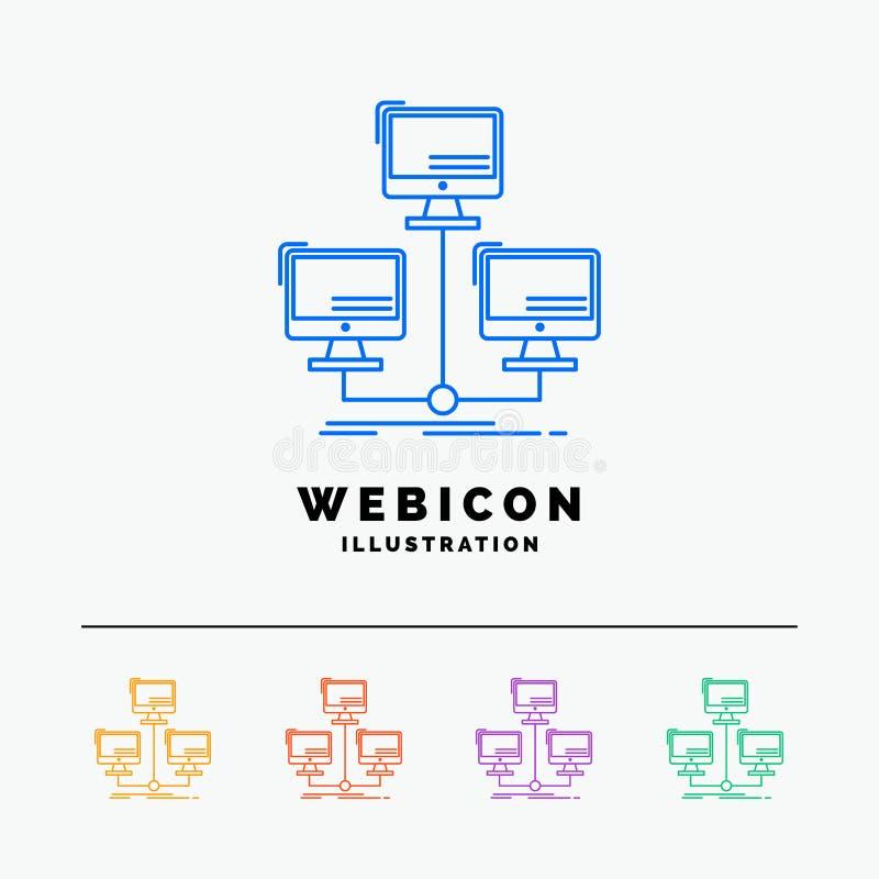 baza danych, zakłócający, związek, sieć, komputeru 5 koloru linii sieci ikony szablon odizolowywający na bielu r?wnie? zwr?ci? co ilustracja wektor