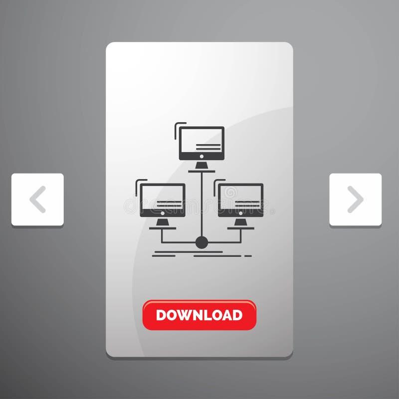 baza danych, związek, sieć, komputerowa glif ikona w biby paginacji suwaka projekcie & Czerwony ściąganie guzik, zakłócający, royalty ilustracja