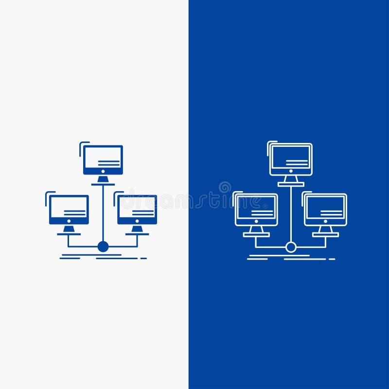 baza danych, związek, sieć, sieć, zakłócający, komputerowej linii i glifu Zapinamy w Błękitnego koloru Pionowo sztandarze dla UI  royalty ilustracja