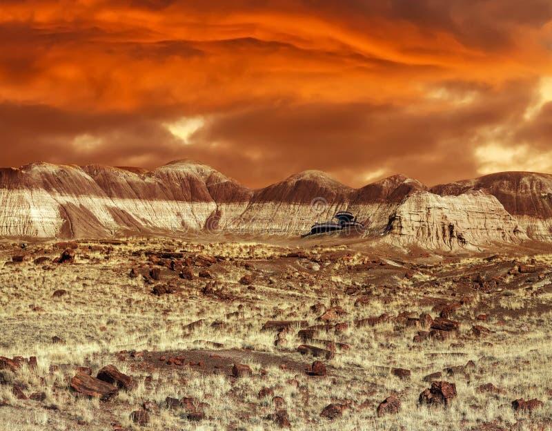 Baza na Mars Abstrakcjonistyczny naturalny projekt patrzeje jak marsjański surfa zdjęcie royalty free