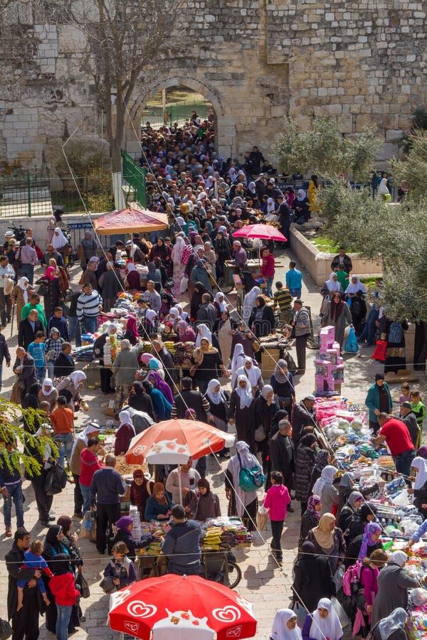 Bazaar in de Oude Stad van Jeruzalem. stock afbeeldingen