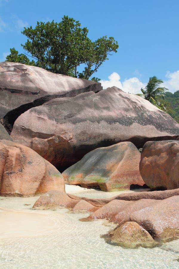 Bazaltowe edukacje na tropikalnym brzegowym Baie Lazare, Mahe, Seychelles obrazy stock