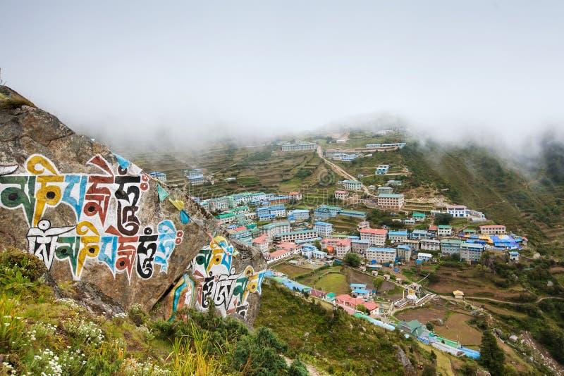Bazar de Highland Village Namche en la región de Khumbu foto de archivo
