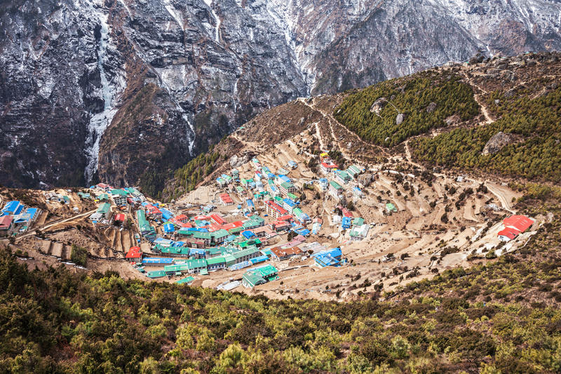 Bazar de Namche, Nepal imágenes de archivo libres de regalías