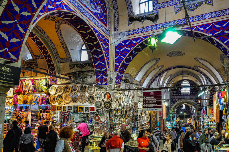 Bazar grande em Istambul, Turquia fotos de stock royalty free