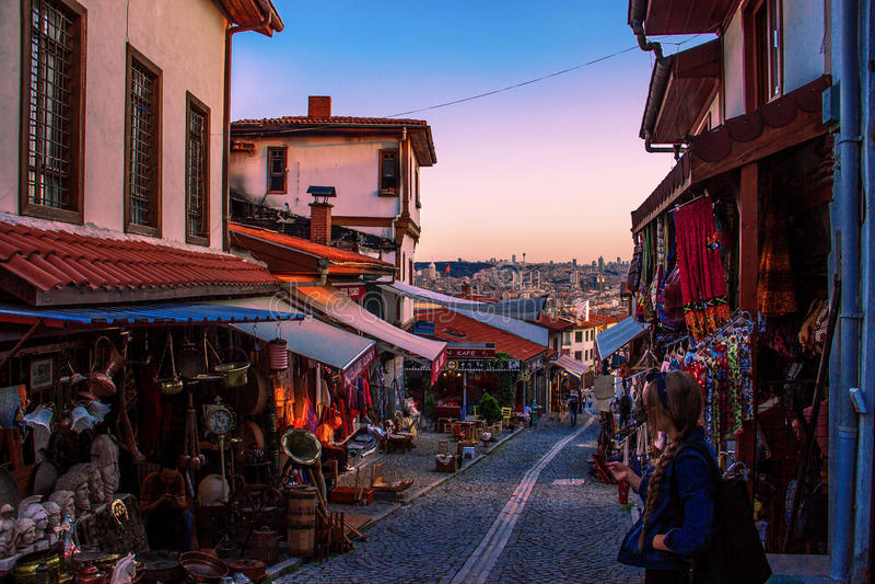 Bazar histórico em ANCARA, TURQUIA imagens de stock