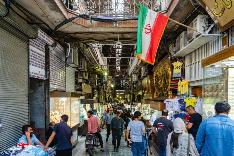 Bazar magnífico en la ciudad de Teherán, Irán foto de archivo libre de regalías