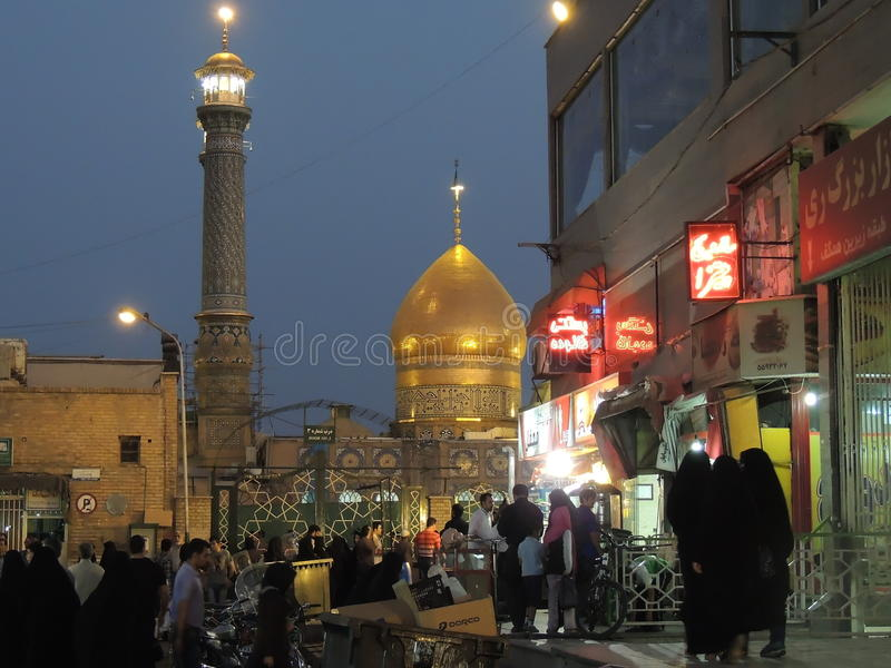Bazar market and Muslim shrine in Shahr-e Rey south of Tehran stock photo