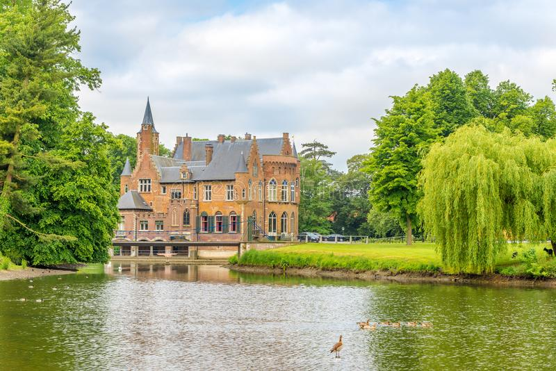 View at the Wissekerke castle in Bazel - Belgium royalty free stock photography