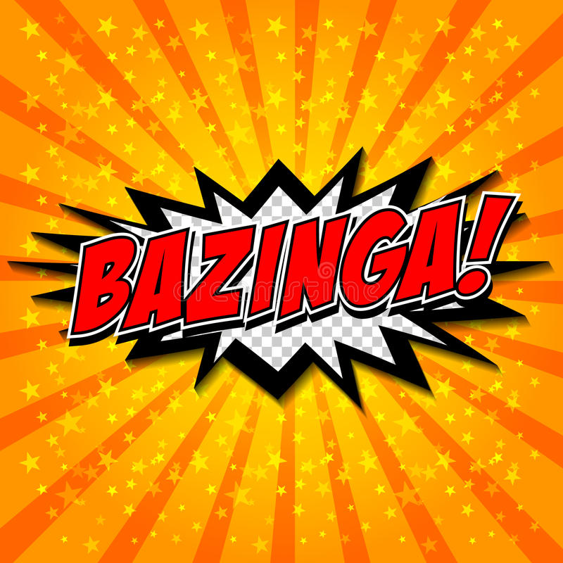 Bazinga! Komische Sprache-Blase, Karikatur vektor abbildung