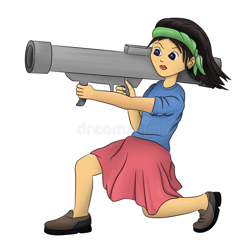 Download Bazooka girl stock illustration. Illustration of angry - 24006783