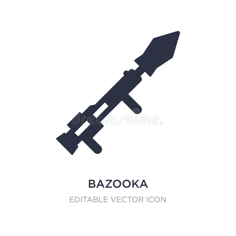 Bazookaikone auf weißem Hintergrund Einfache Elementillustration vom Waffenkonzept lizenzfreie abbildung