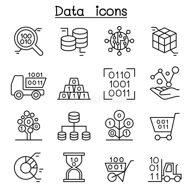Bazy danych, dane & wykresu ikona ustawiająca w cienkim kreskowym stylu, royalty ilustracja