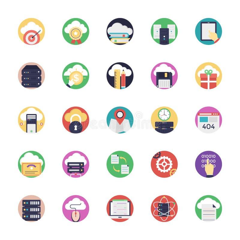 Bazy danych i chmury technologii ikony ilustracji