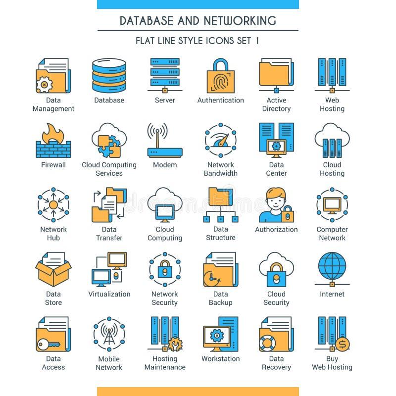 Bazy danych i networking ikony 1 ilustracja wektor
