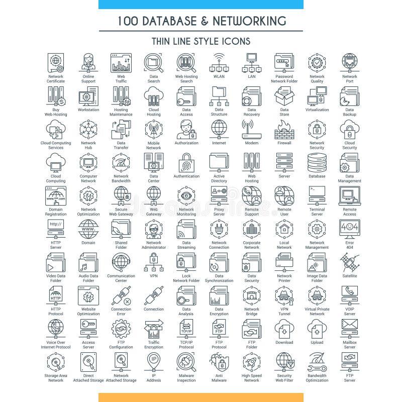 Bazy danych linii duży set ilustracji