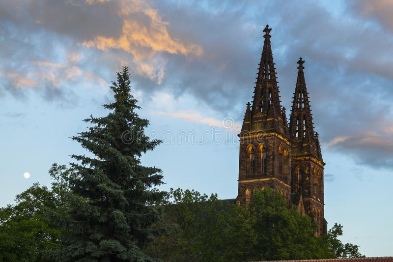Bazylika św. Piotra i Pawła w twierdzy Wyszehradzkiej, Praga, Czechy fotografia royalty free