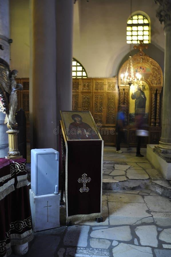 Bazylika święty Demetrius lub Hagios Demetrios wnętrze od Saloniki kapitał Macedonia Grecja obrazy royalty free