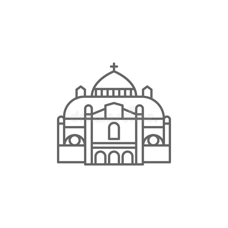 Bazylika, katolicka ikona Element Paryska ikona Cienka kreskowa ikona dla strona internetowa projekta i rozwoju, app rozw?j ilustracja wektor