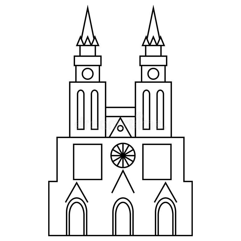Bazylika Nasz dama Lujan ikona, konturu styl ilustracji