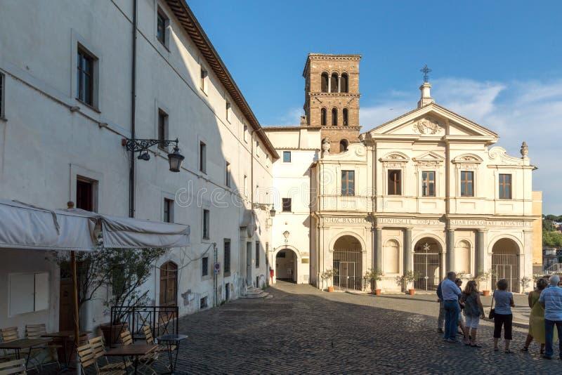 Bazylika St Bartholomew na wyspie w mieście Rzym, Włochy zdjęcia stock