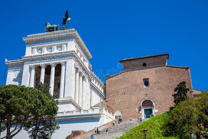 Bazylika St Mary ołtarz lokalizować przy Kapitolińskim wzgórzem w Rzym niebo obrazy royalty free