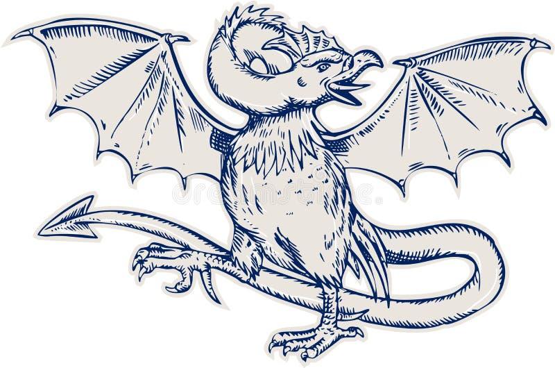 Bazyliszek Gaworzy akwafortę ilustracji