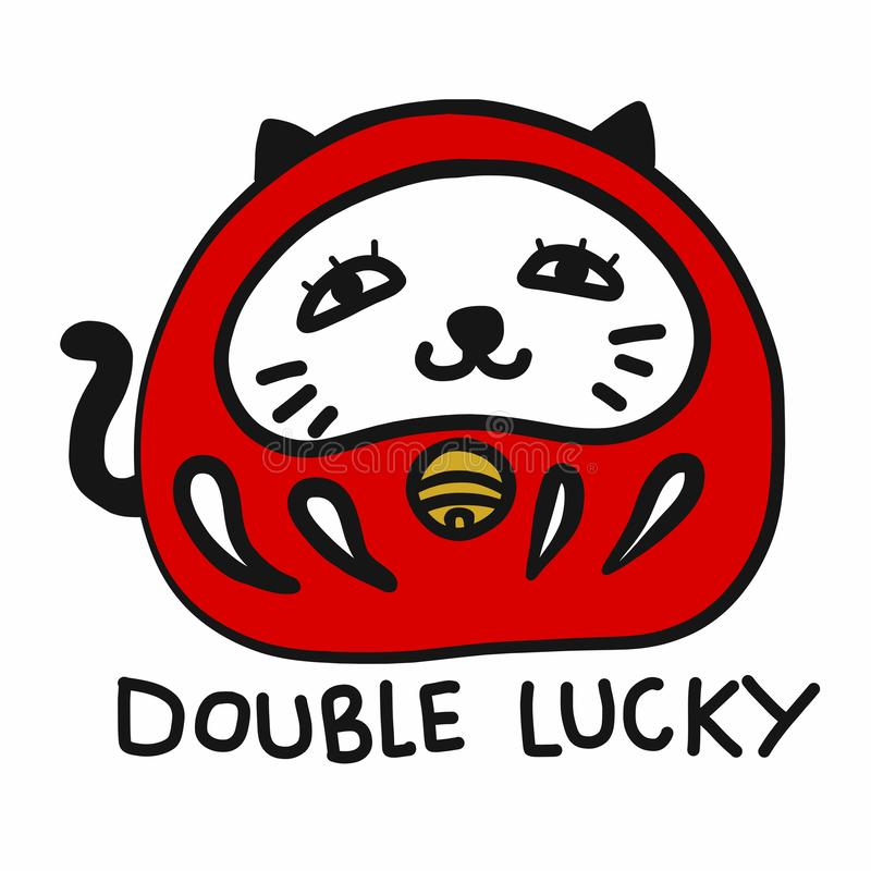 Daruma mixing with Lucky cat Japanese lucky charm cartoon vector illustration doodle style. On white background vector illustration