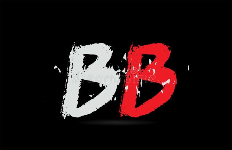BB B B de la combinación de letra del alfabeto con textura del grunge en logotipo negro del fondo ilustración del vector