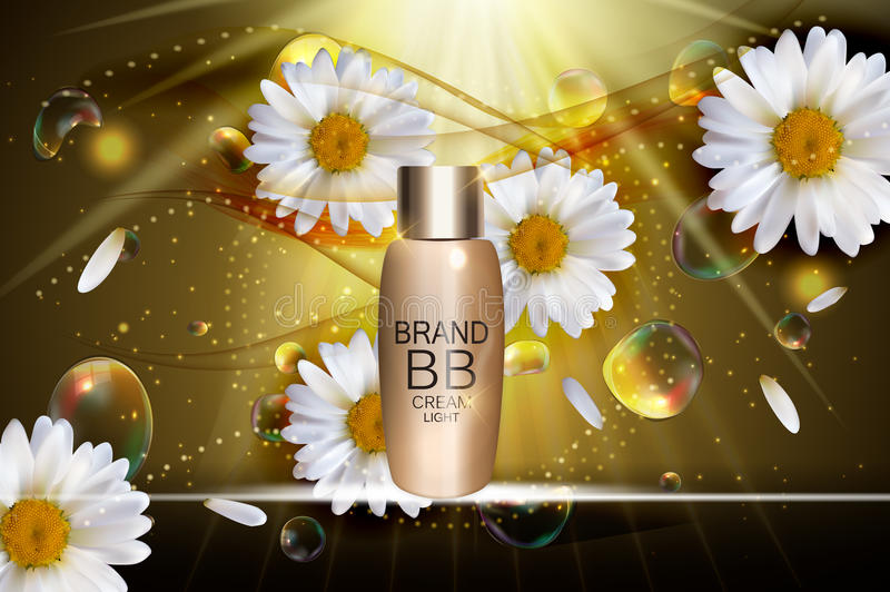 BB Cream Bottle Template for Ads or Magazine Background. 3D Real. Istic Vector Iillustration. EPS10 stock illustration