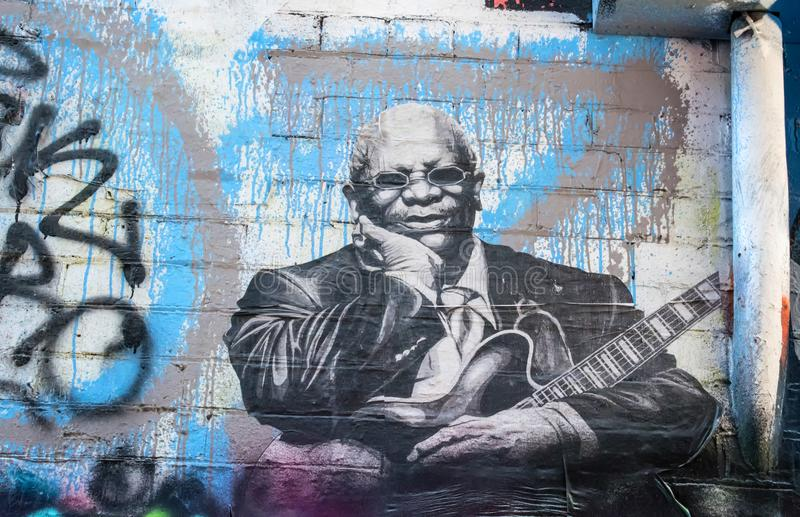 BB King graffiti stock images