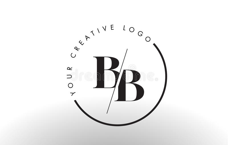 Bb serif letter logo design with creative intersected cut for B b design