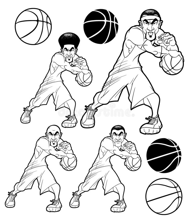 Assortment of Determined Basketball Players in Black & White royalty free illustration