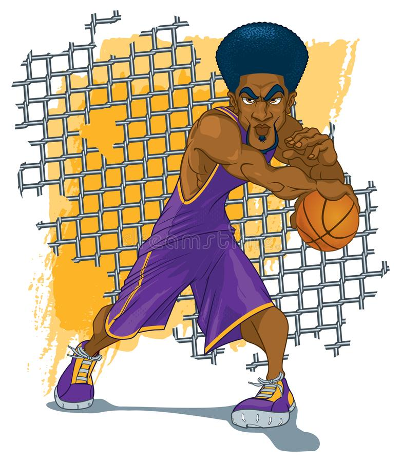 Basketball Player with Afro in Dynamic Pose. An African American Basketball player with an afro, standing in a dynamic pose in a purple jersey against a broken vector illustration