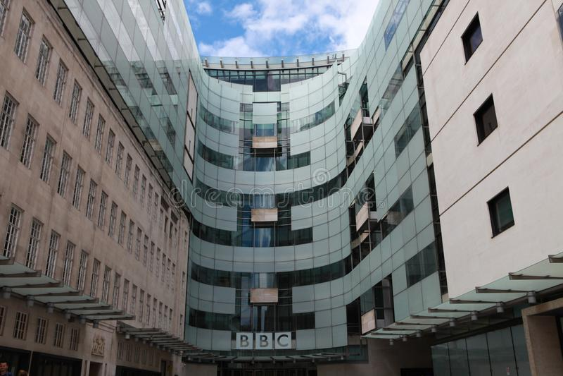BBC headquarters in London. London, UK - The famous British broadcaster BBC headquarters in London. June 26, 2012 stock image