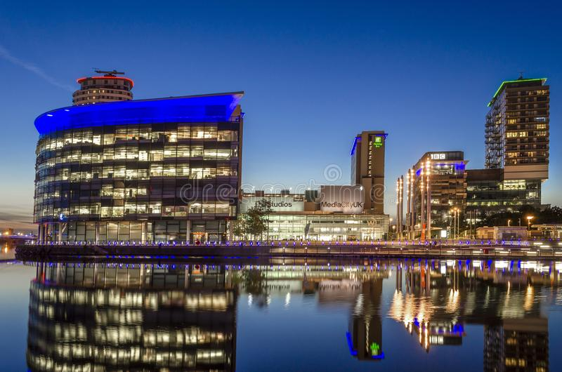 BBC Studios shot at evening in Media City UK, Salford Quays, Nr Manchester, England, 10th August 2017 stock photography