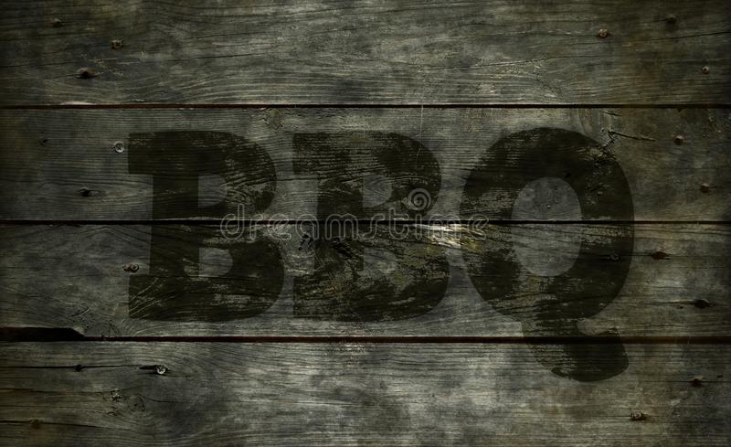Bbc tekst op hout stock foto