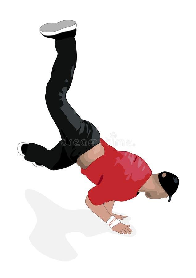 Bboy en casquillo muestra movimientos de la potencia libre illustration